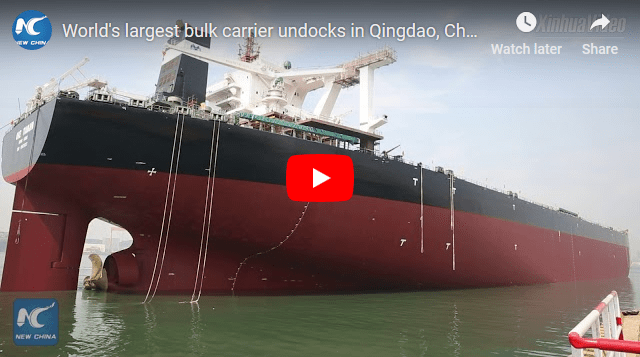 World's largest bulk carrier undocks in Qingao China