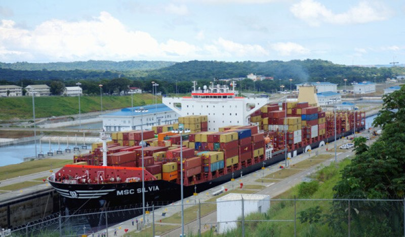 One of the largest containerships to pass the new section of the Panama Canal shortly after its inauguration - picture taken here during locks transit.