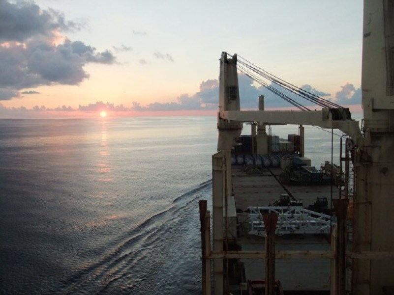 Sunset in the Gulf of Mexico from m/v Rickmers Antwerp enroute to Houston