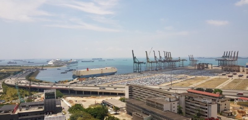 Incredible port and sea view from the offices of Andersen Shipping Company, Singapore