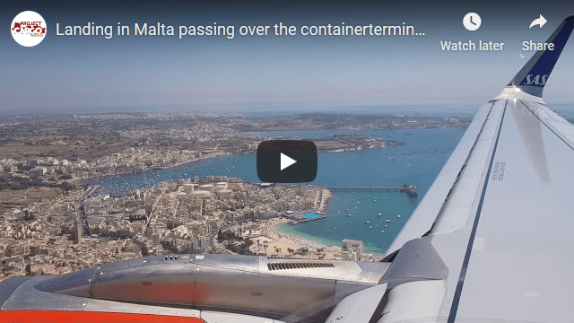 Landing in Malta Passing over the Container Terminal at Marsaxxlokk, a Known CMA CGM Hub in the Mediterranean
