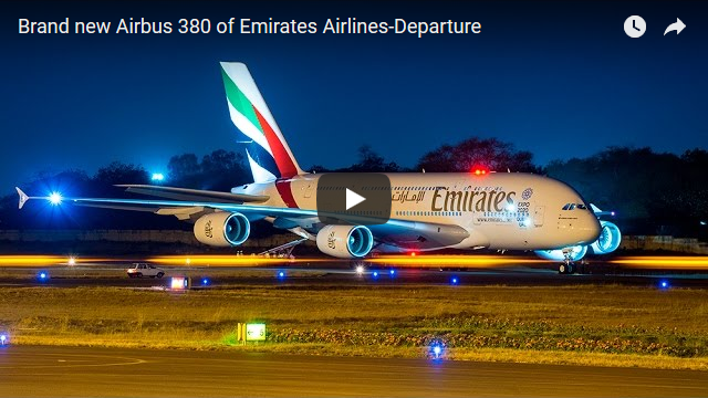 Brand new Airbus 380 of Emirates Airlines-Departure