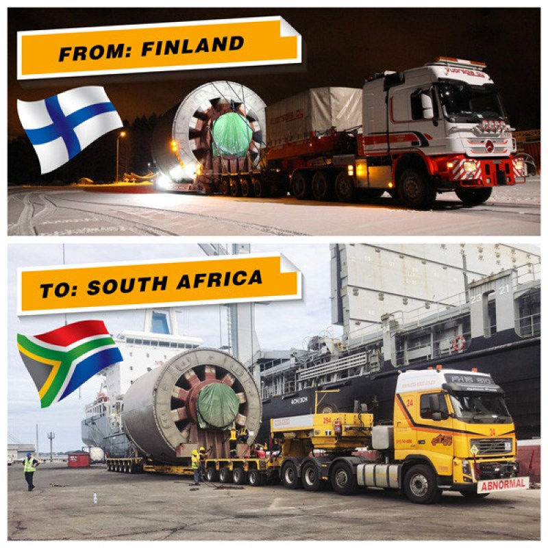 Hacklin Logistics and Freitan Projects cooperate on a project from Finland to South Africa.