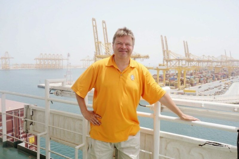 Me outside on the wing of the bridge in 47°C weather leaving Jebel Ali.