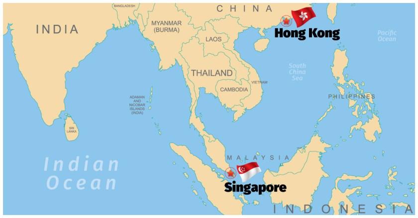Singapore and Hong Kong Map