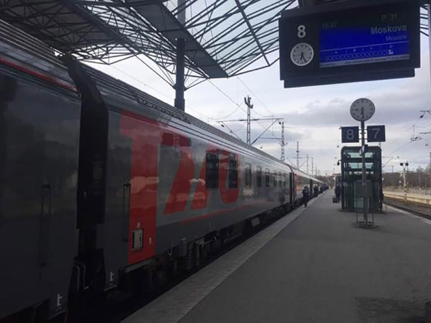 The overnight train about to depart from Helsinki to Moscow. Sent to us by a participant of Transrussia recently. Modern trains but same vodka....I was told.