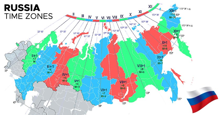 Time Zone Map of Russia