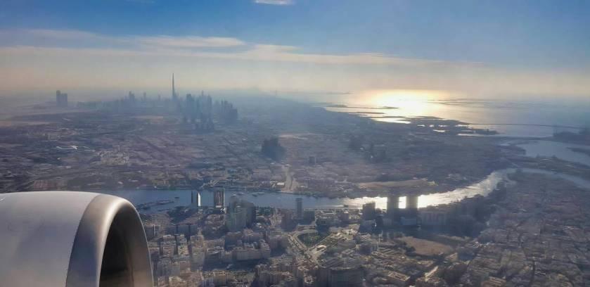 Dubai from airplane