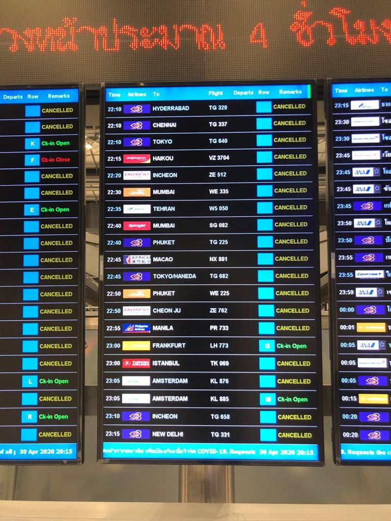 flight board, mostly cancelled