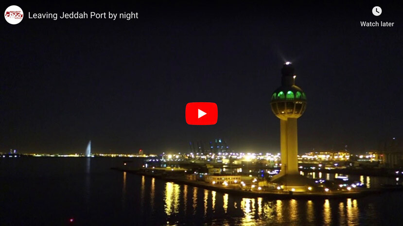 Leaving Jeddah Port by Night