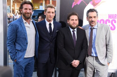 "LOS ANGELES - AUG 15: Bradley Cooper, Miles Teller, Jonah Hill and Todd Phillips arrives to the ""War Dogs"" Los Angeles Premiere on August 15, 2016 in Hollywood, CA"