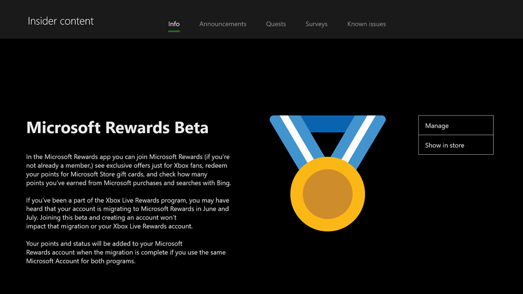 UPDATED 5 July] Microsoft Rewards App on Xbox One for