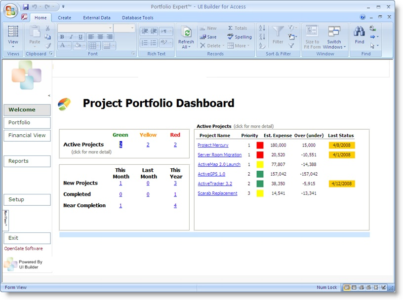 project portfolio dashboard template and software excel