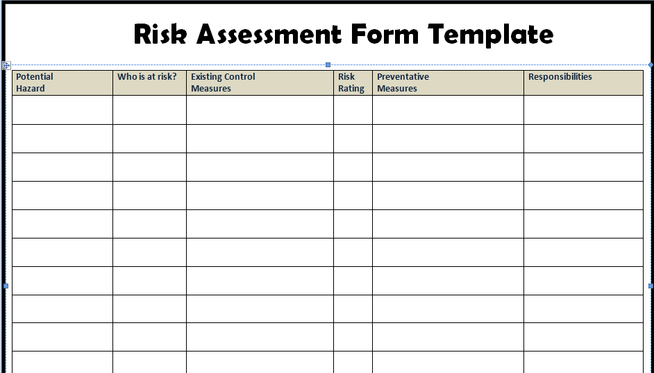 Risk Assessment Template Excel filling in the template how to – It Assessment Template