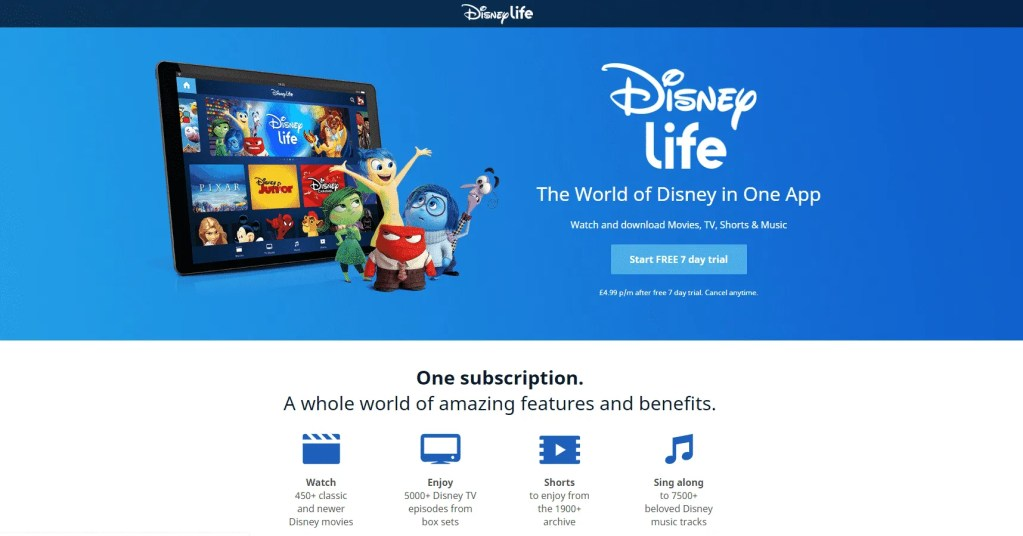 screenshot of disneylife screen