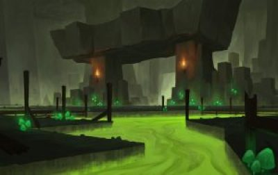Concept art of underground dungeon with green river