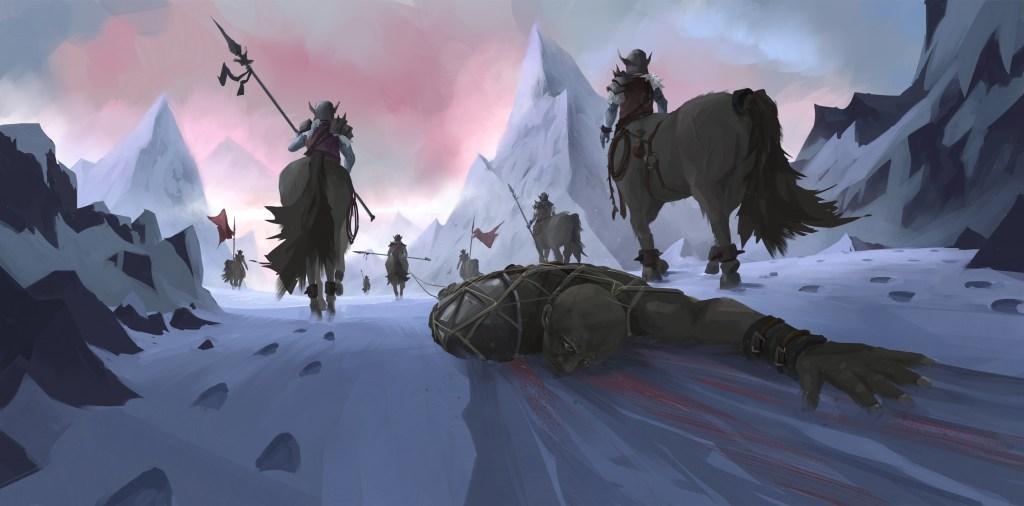 Digital concept art of Icegrip Centaurs dragging victim through mountain path