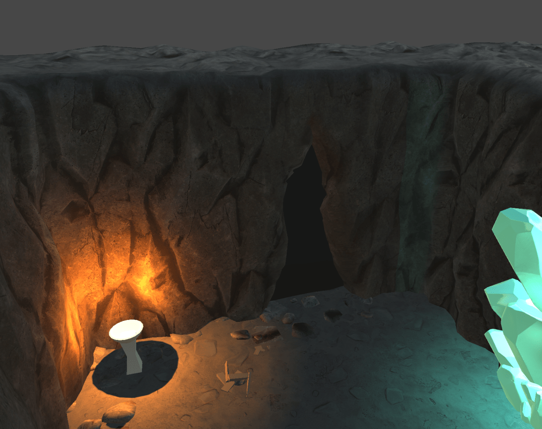 3D render of the outside of a cave