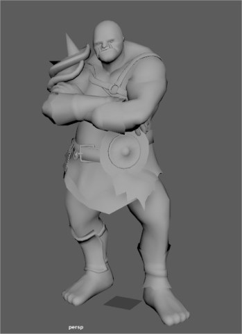 Grey 3D model of Ogre standing with arms folded