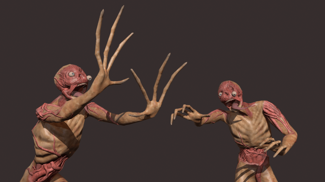 3D models of 2 zombies clawing at each other
