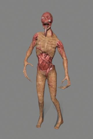 3D zombie model on grey background