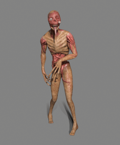 3D model of a zombie against a grey background