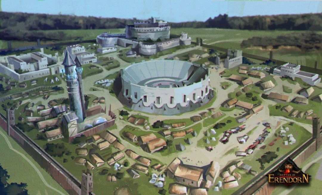 Digital painting of a medieval settlement with large coliseum in the centre
