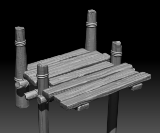 Black and white 3D model of wooden bridge