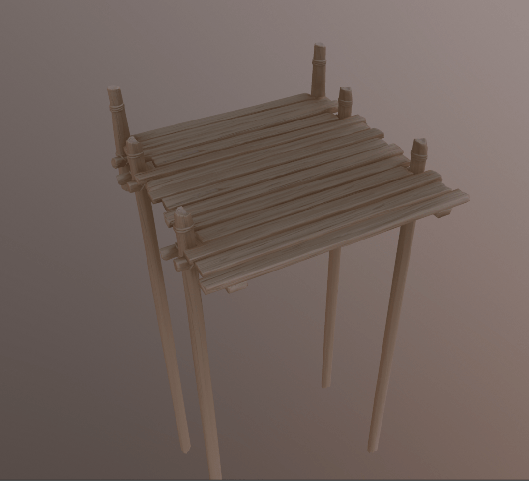 A 3D render of a wooden bridge