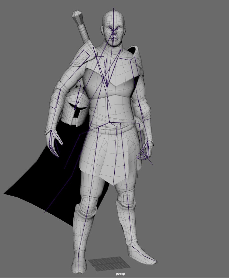 Grayscale model of Human Knight with rig showing