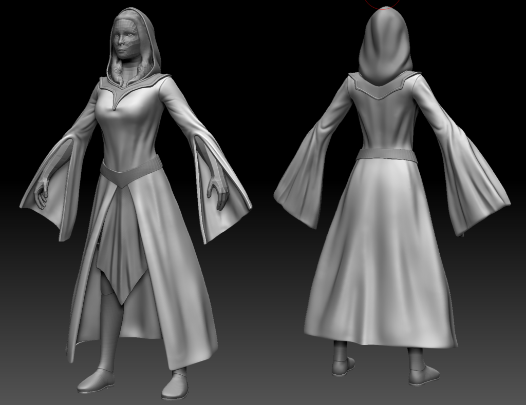 3D sculpt of a Sorceress in ZBrush wearing a hooded gown