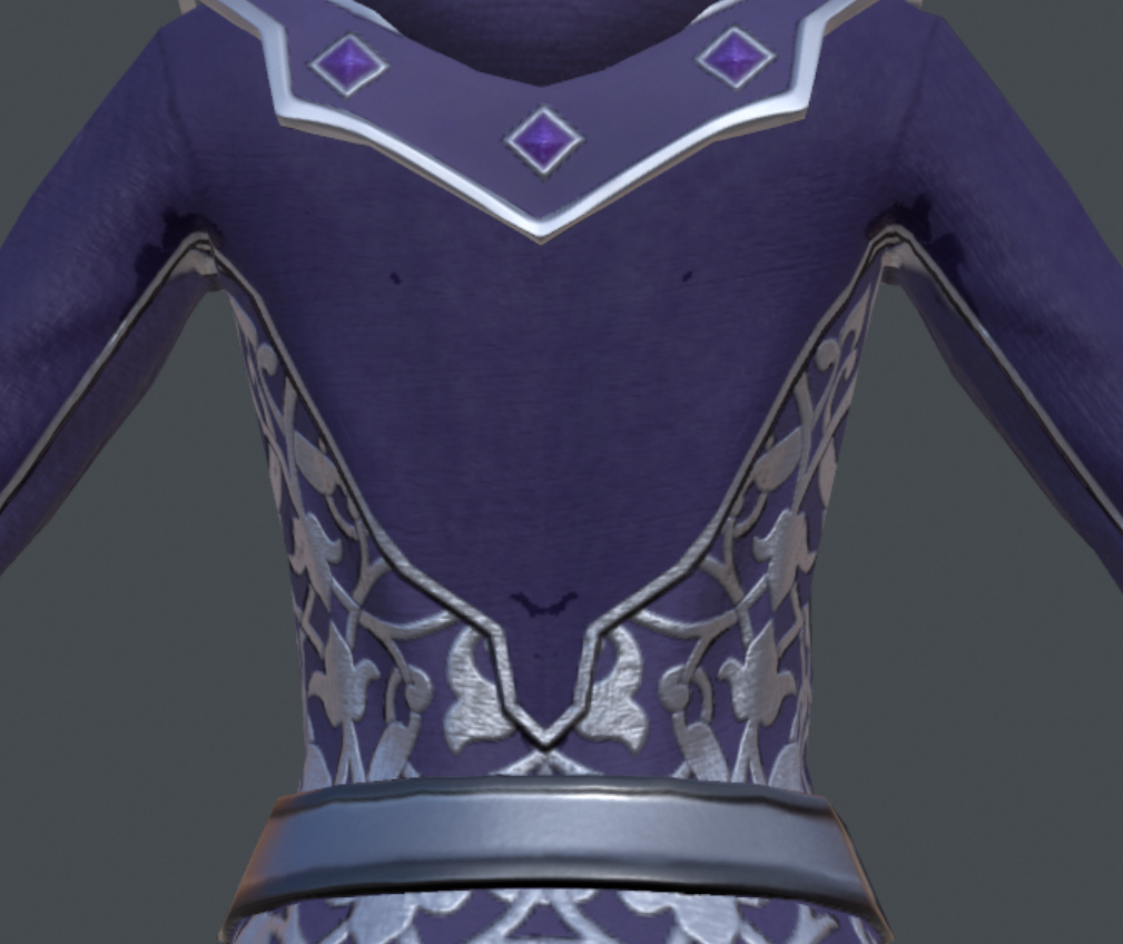 Close up of a Sorceress' robe in ZBrush showing silver patterns embroided round the back of the waist
