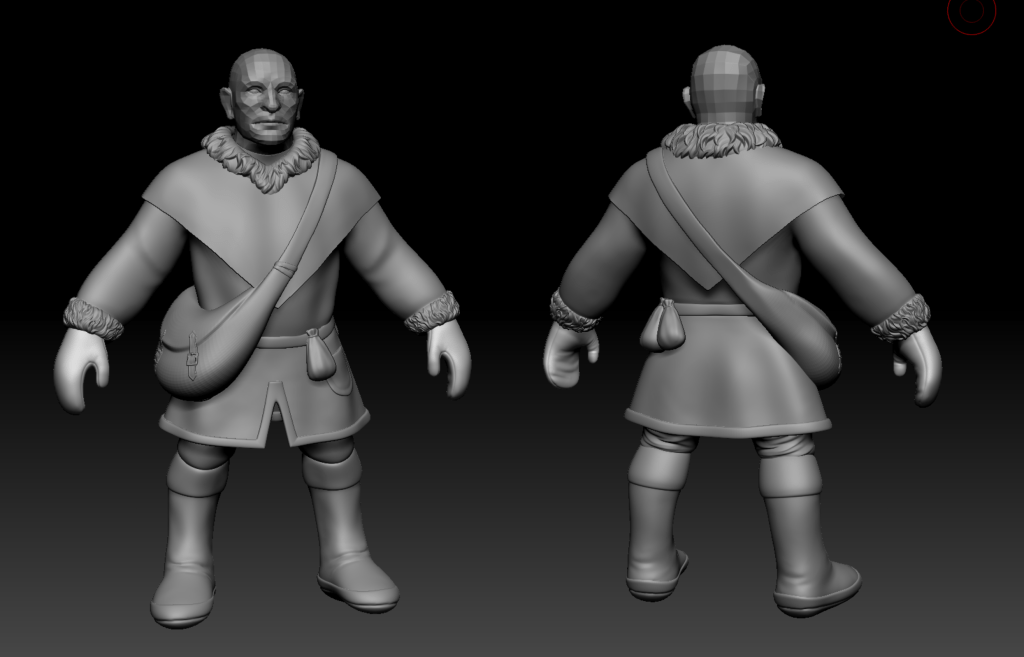 Front and back of a 3D Dwarf model in ZBrush. They are wearing a thick winter coat and a side satchel
