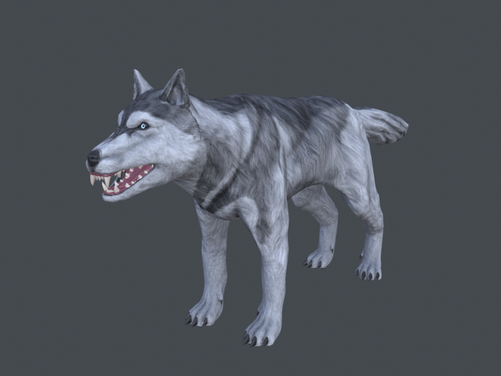 Fully textured 3D model of an Ice Husky from Depths of Erendorn