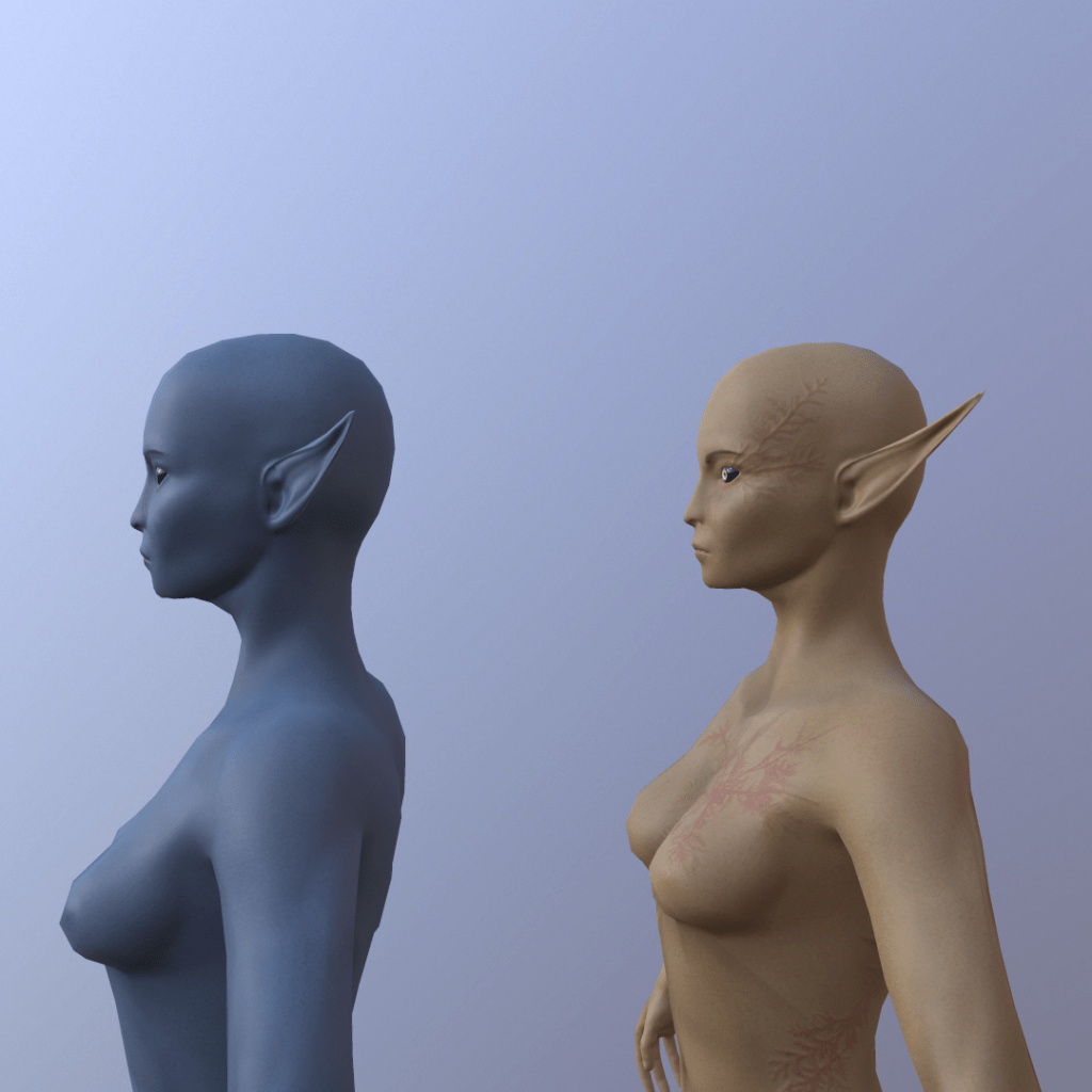 Fully textured 3D model of a Storm Elf from Depths of Erendorn stood to the side