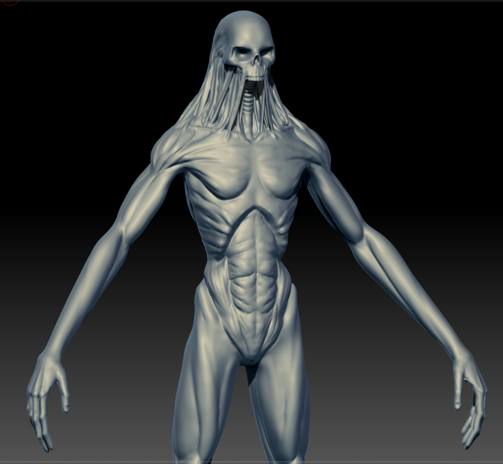 Front shot of a Ghoul model in ZBrush
