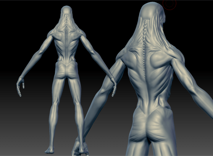 Screenshot from ZBrush showing the back of a Ghoul model