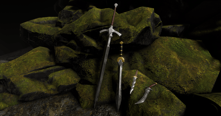 Swords and daggers from Depths of Erendorn leaning against a moss-covered rock