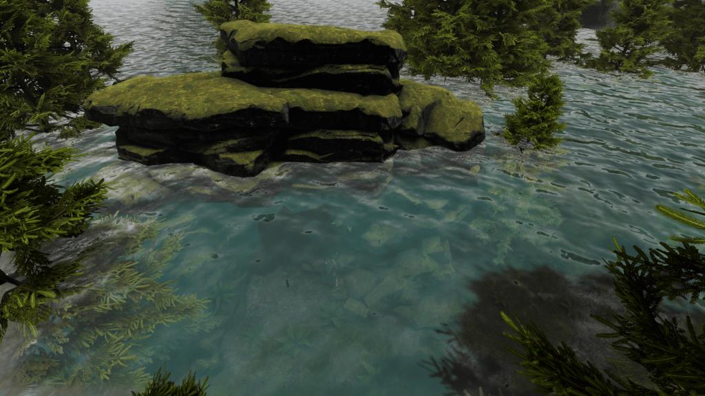 Screenshot from Depths of Erendorn showing mossy rocks in water