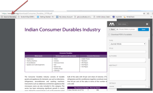 bookmarking the page to import data from the browser