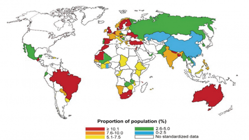 World map of prevalence of diagnosed asthma as allergic diseases (2010)