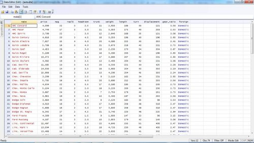 importing the example data set from stata to main window