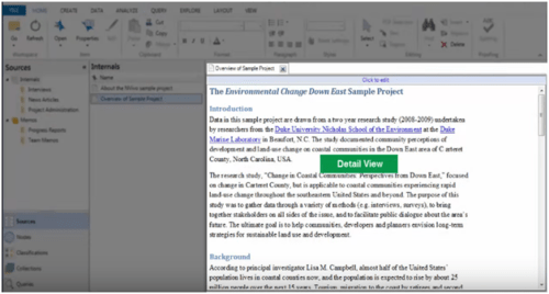 Detail View of Nvivo's interface