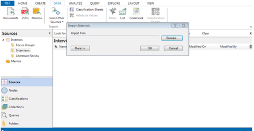 Import source data in Nvivo using this option