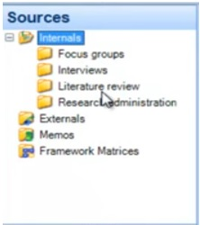 showing the internal folder under sources in Nvivo