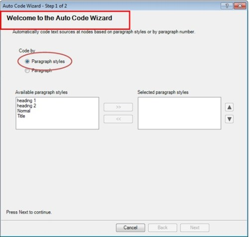 Auto-Coding Welcome Wizard in Nvivo