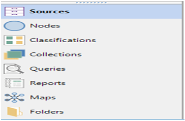 main menu contents of the Nvivo workspace