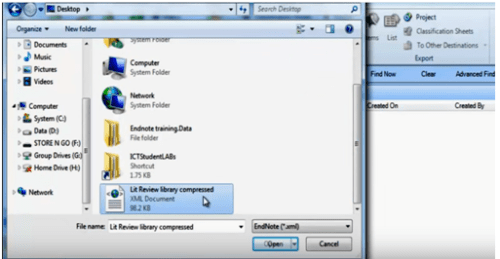 importing bibilographic data from the local system in Nvivo