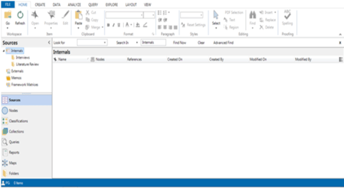 source window and menu in Nvivo for managing imported data