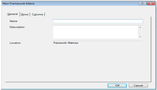 "Dialogue box of ""New Framework Matrices"""